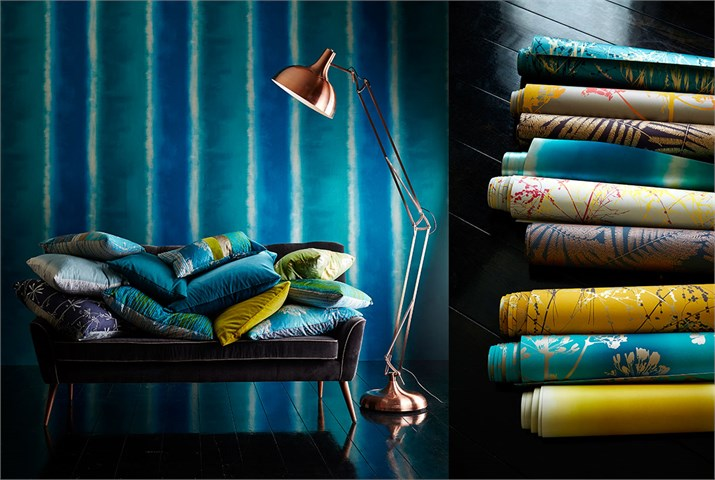 1-Harlequin-callista-fabrics-wallpapers-blue-golden-silver-grey-azure-botanical-fennels-cushions-board-portrait22